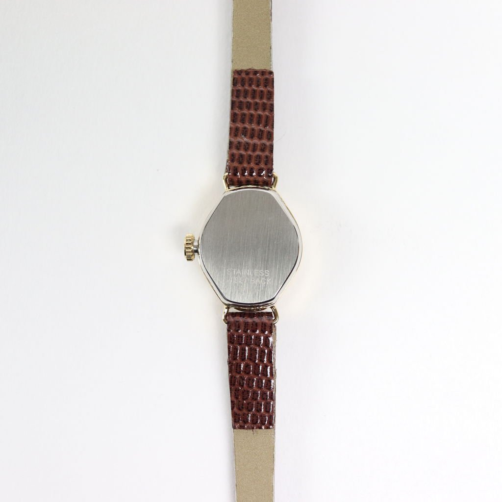 SWISS DEAD WATCH #BROWN LEATHER BAND / PEARL WHITE DIAL & GOLD CASE [19A-swissdead-07]