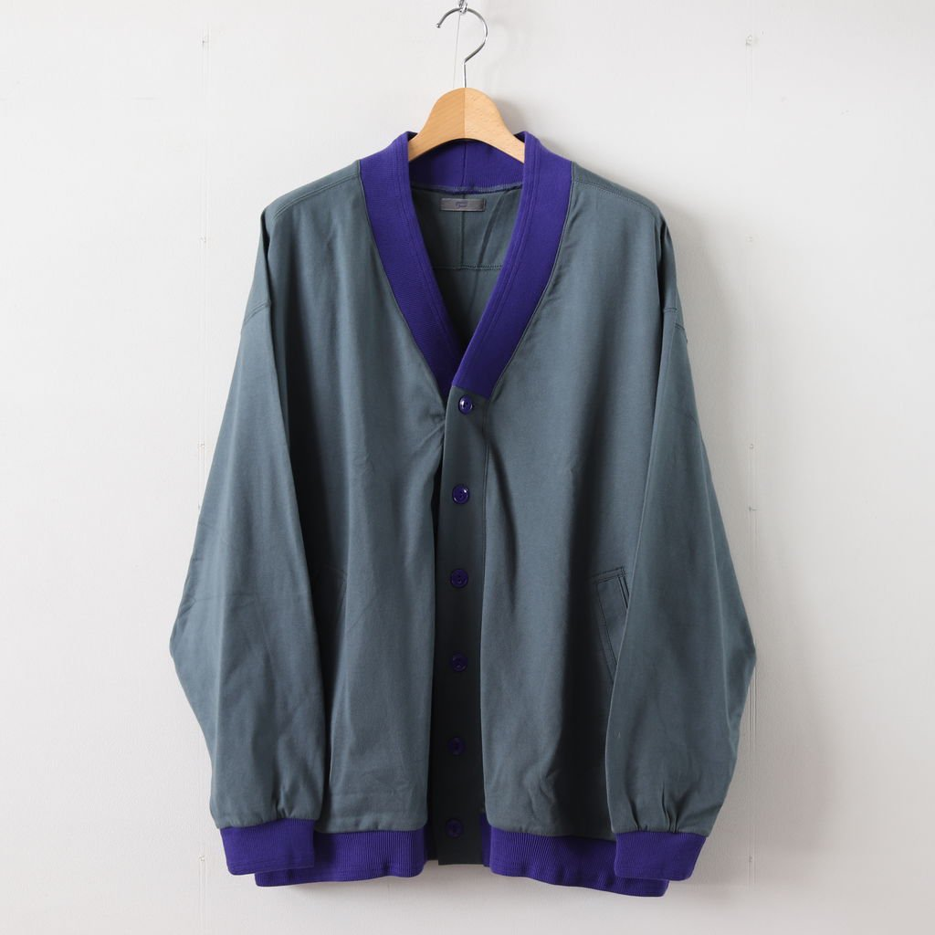 天竺 CARDIGAN #CHARCOAL×PURPLE