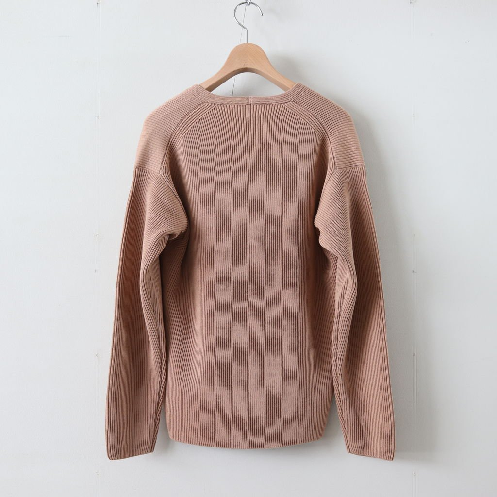 SUPER HARD TWIST RIB KNIT V-NECK PO #PINK BEIGE [A9SV05TR]