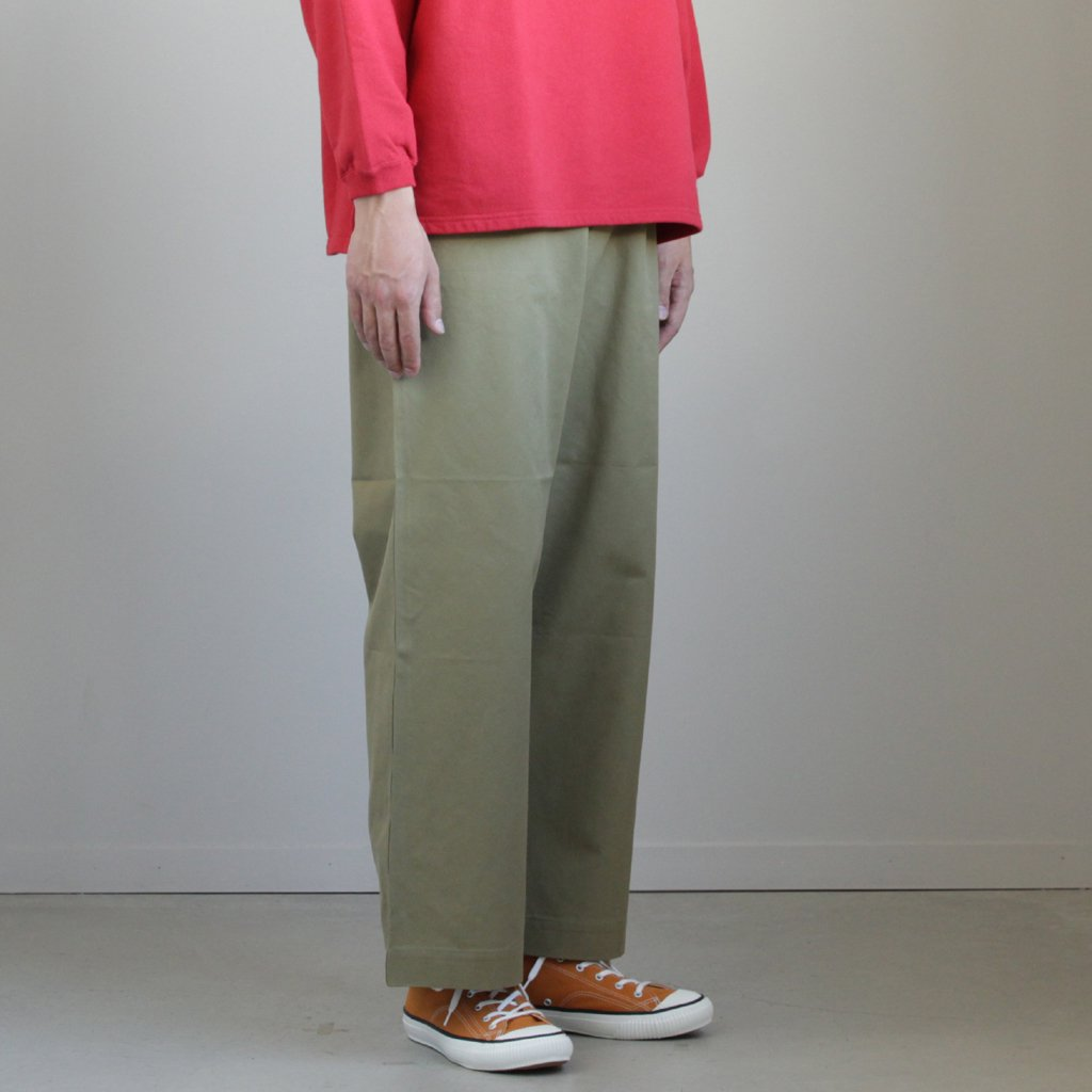 WASHED FINX LIGHT CHINO WIDE PANTS #OLIVE [A9SP01CN]
