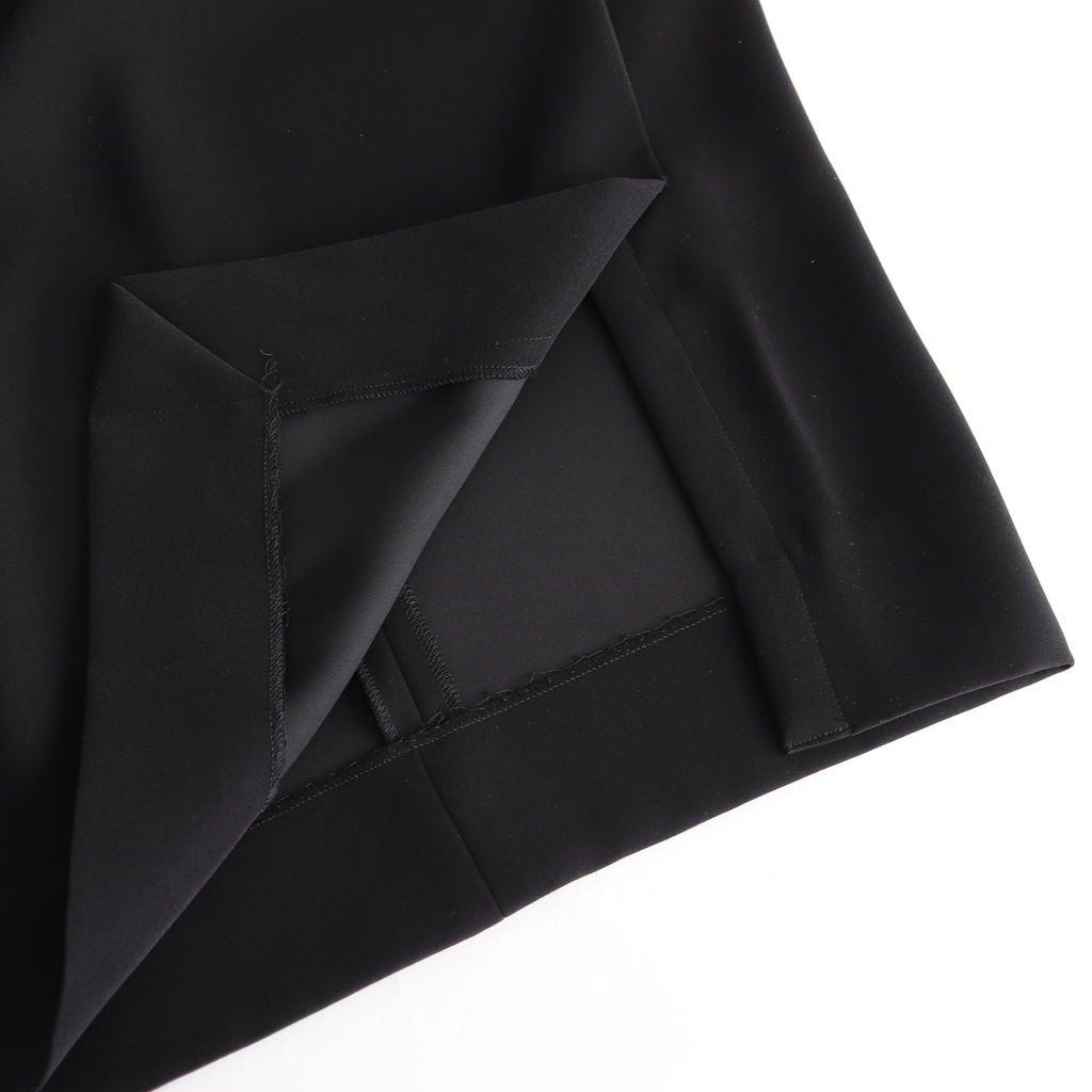 NOFOP|ポリエステルサテンダブルクロス フレンチスリーブオーバーワンピース #BLACK [S9-NC035OP]