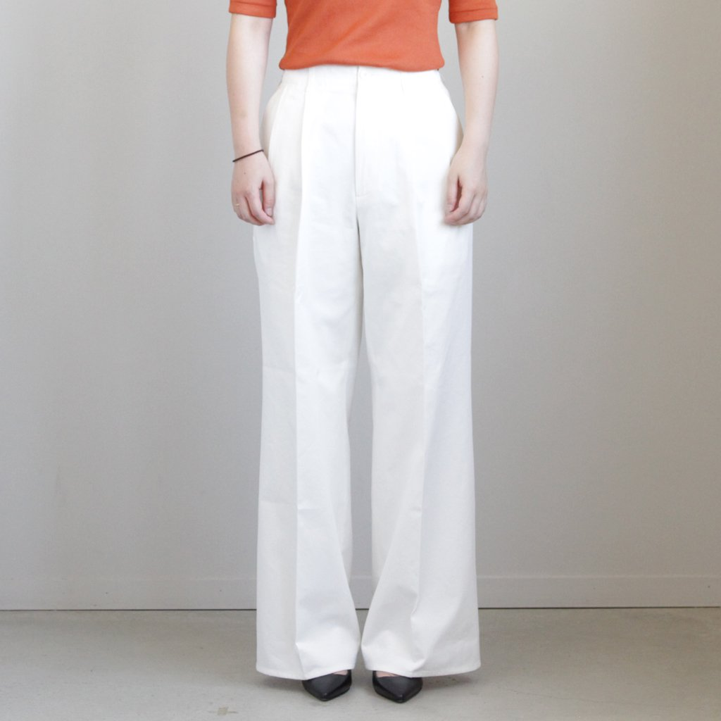 WASHED FINX LIGHT CHINO TUCK WIDE PANTS #WHITE [A9SP02CN]