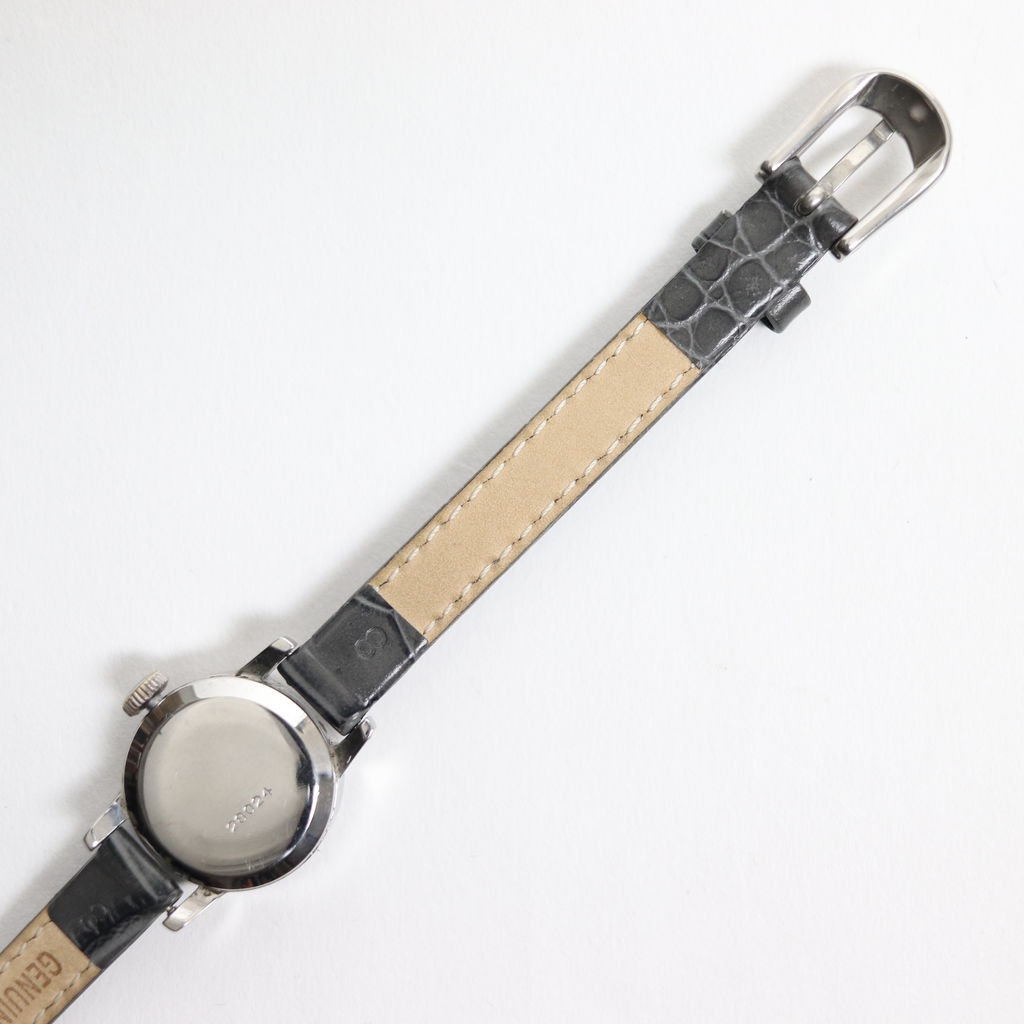 REMAKE WATCH #GRAY LEATHER BAND / PEARL WHITE DIAL & SILVER CASE [19B-remake-04]