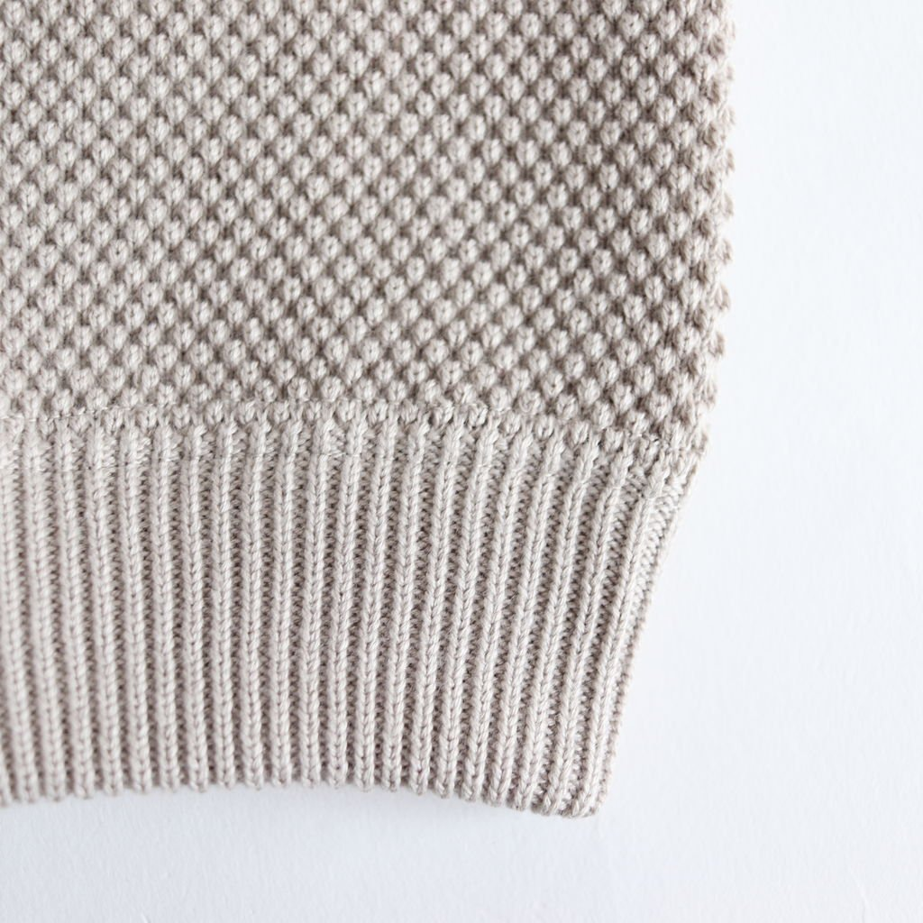 MOSS STITCH L/S SWEAT #BEIGE [1901-001W]