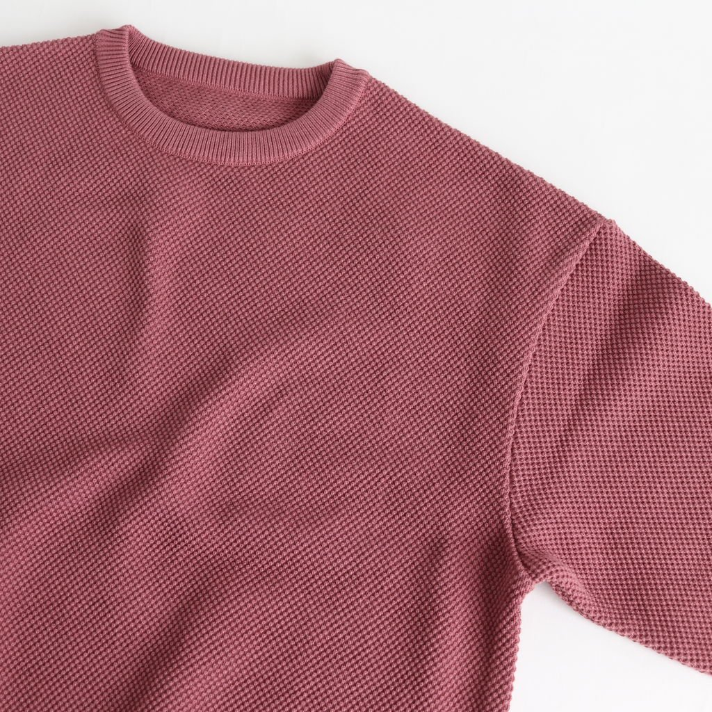 MOSS STITCH L/S SWEAT #PINK [1901-001W]