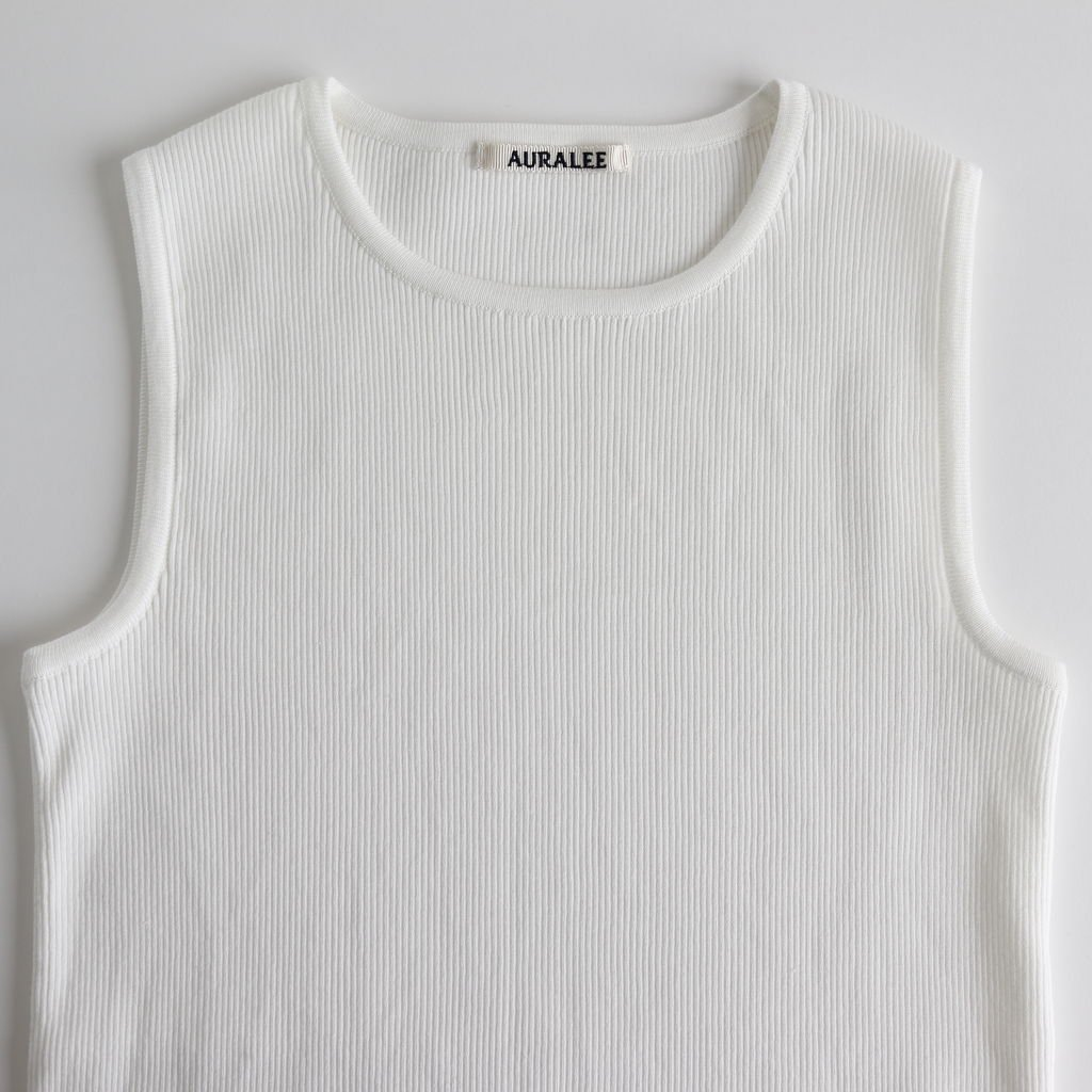 HIGH GAUGE RIB KNIT SLEEVELESS #WHITE [A9ST03HR]