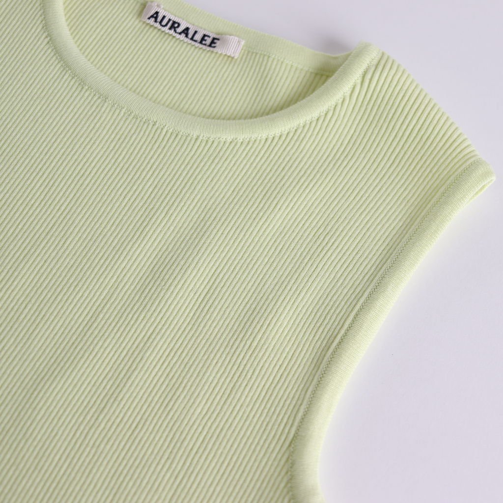 HIGH GAUGE RIB KNIT SLEEVELESS #LIME YELLOW [A9ST03HR]