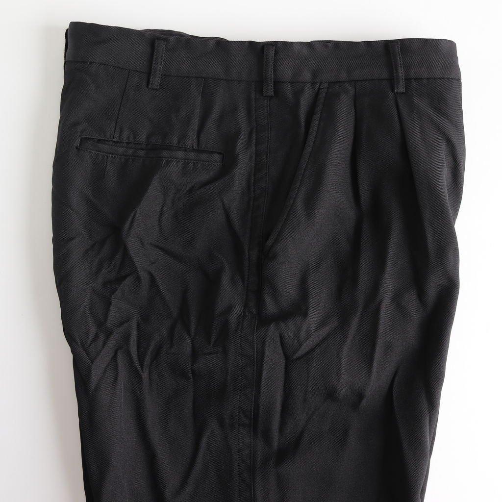 エステルサージ製品染め2タックパンツ #BLACK [HC-P042-051]