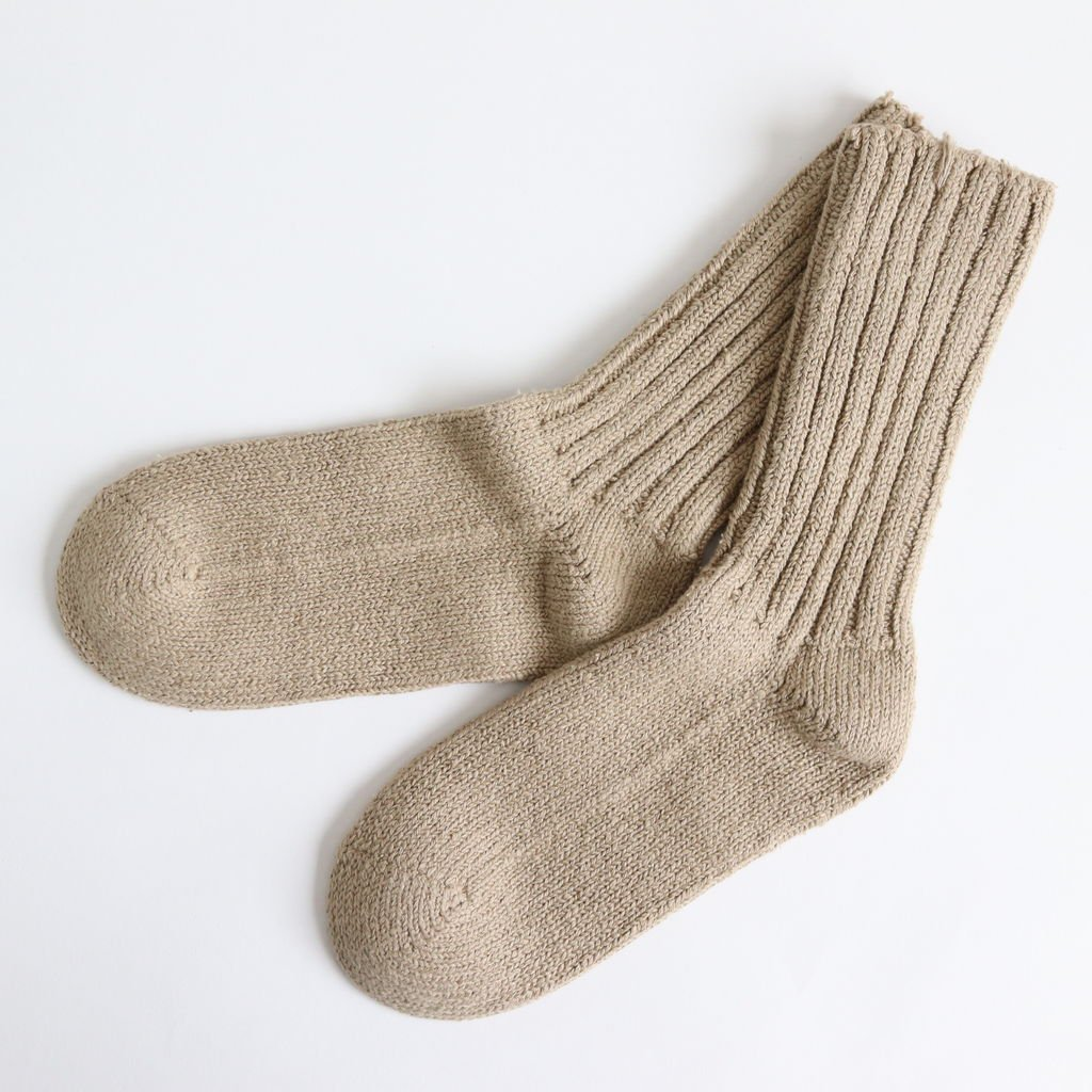 COTTON SILK SOCKS #KHAKI [19901]