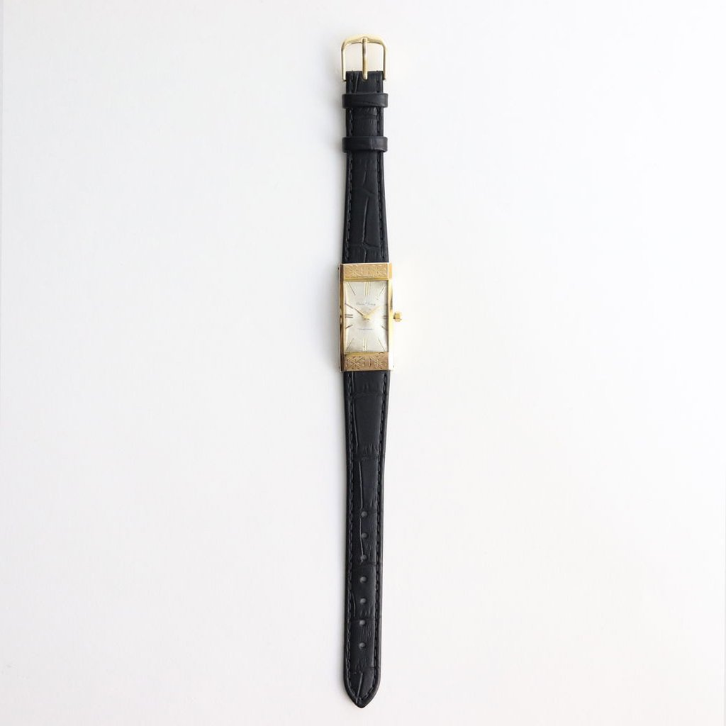 REMAKE WATCH #BLACK LEATHER BAND / GOLD DIAL & GOLD CASE [19B-remake-08]