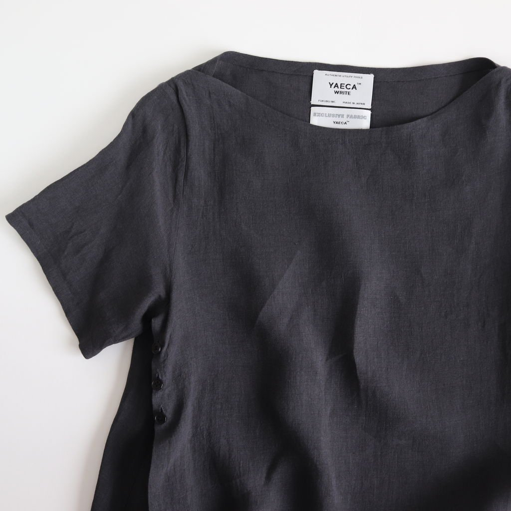 WRAP BLOUSE S/S #CHARCOAL [99120]