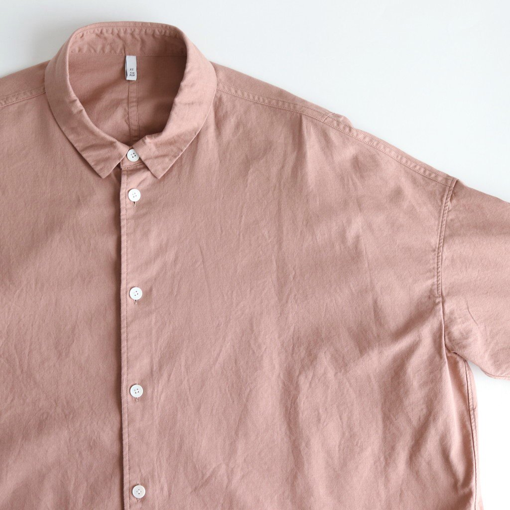 FOKSH|ラフコットンシーチング スモールカラーオーバーシャツ #COCOA PINK [A9-FR015SF]