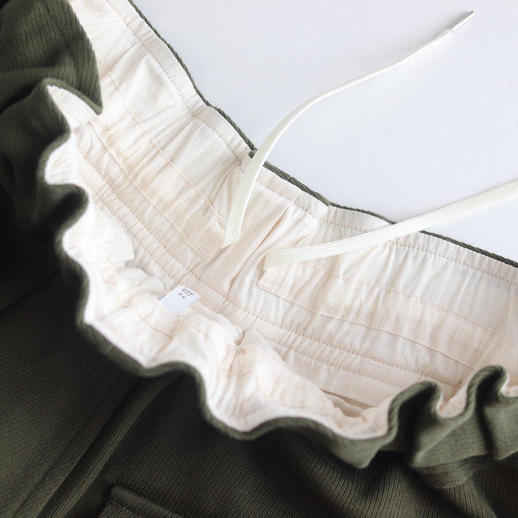 FLWSL|8/-コットン高密度ヘビートリコチン タックワイドイージーパンツ #OLIVE [A9-FR083PF]