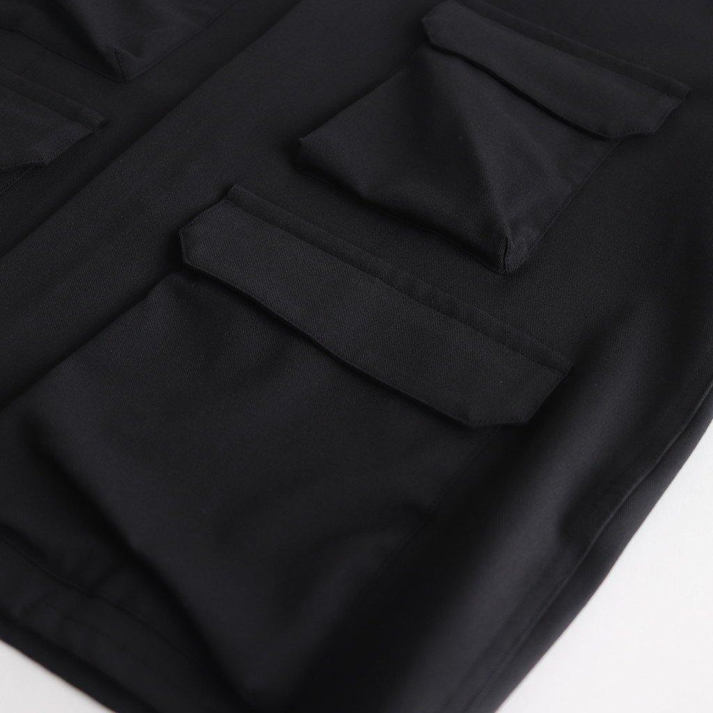 FFZBL コットンポリエステル混紡糸2ウェイストレッチツイル 4ポケットフードブルゾン #BLACK [A9-FR044BN]