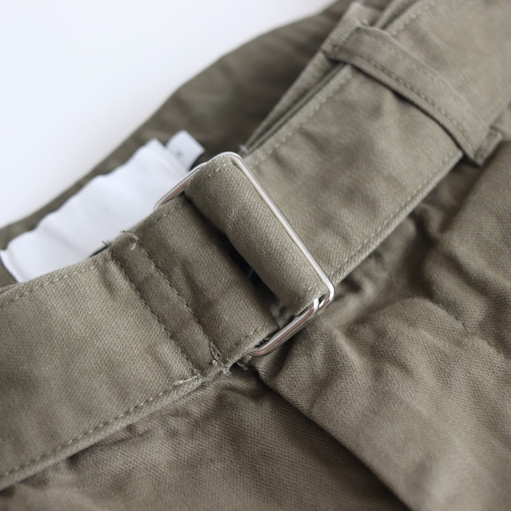 MILITARY CLOTH BELTED PANTS #KHAKI [GU193-40064B]