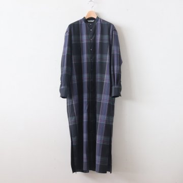 SUPER LIGHT WOOL CHECK MAXI ONE-PIECE #BLACK CHECK [A9AD02LC] _ AURALEE | オーラリー
