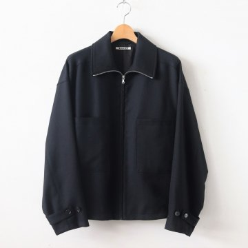 WOOL SERGE ZIP-UP BLOUSON #BLACK [A9AS02WS] _ AURALEE | オーラリー
