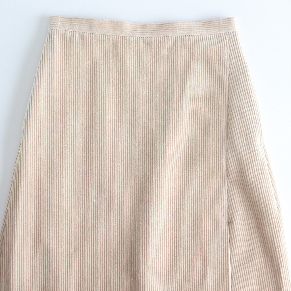 WASHED CORDUROY SLIT SKIRT #LIGHT BEIGE [A9AS05FN]