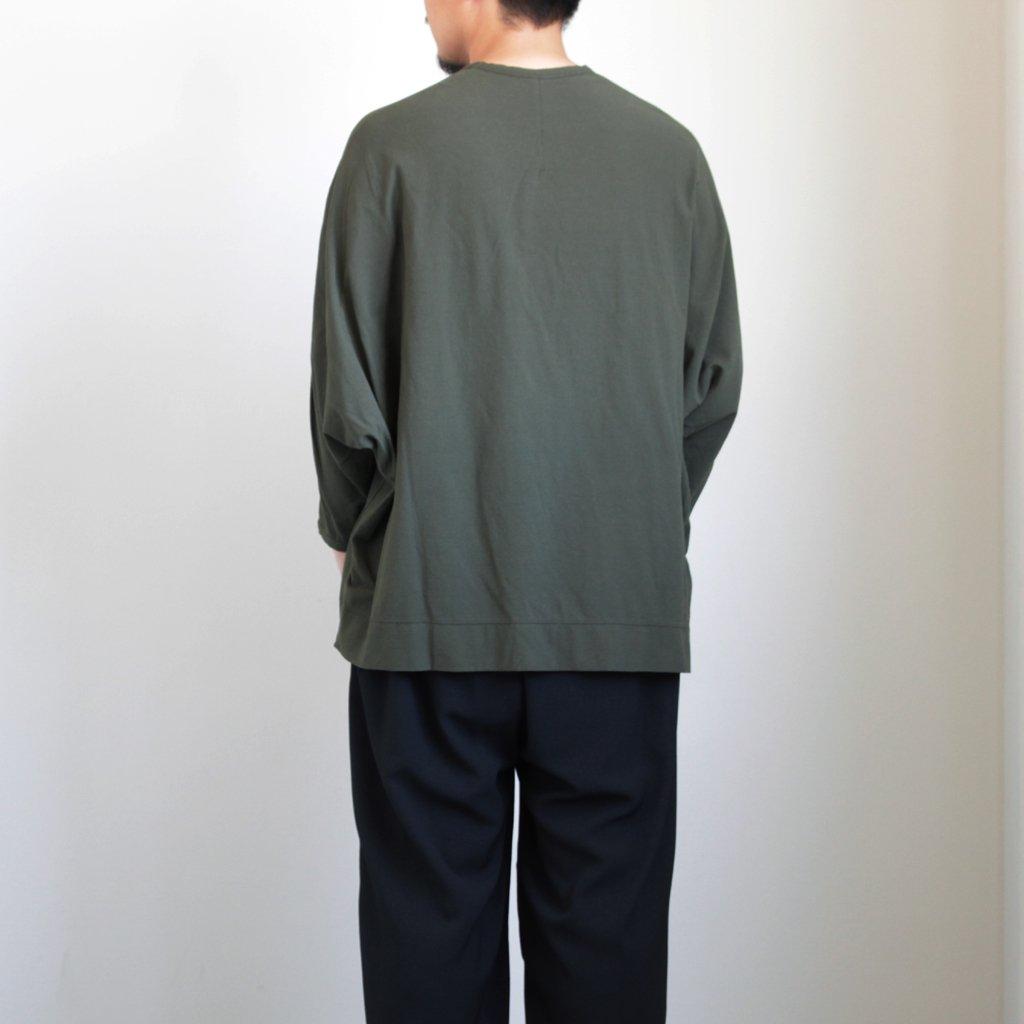 NNDOT 強撚コットンニットジョーゼット ドルマンスリーブカットソー #MILITARY GREEN [A9-NC045T0]