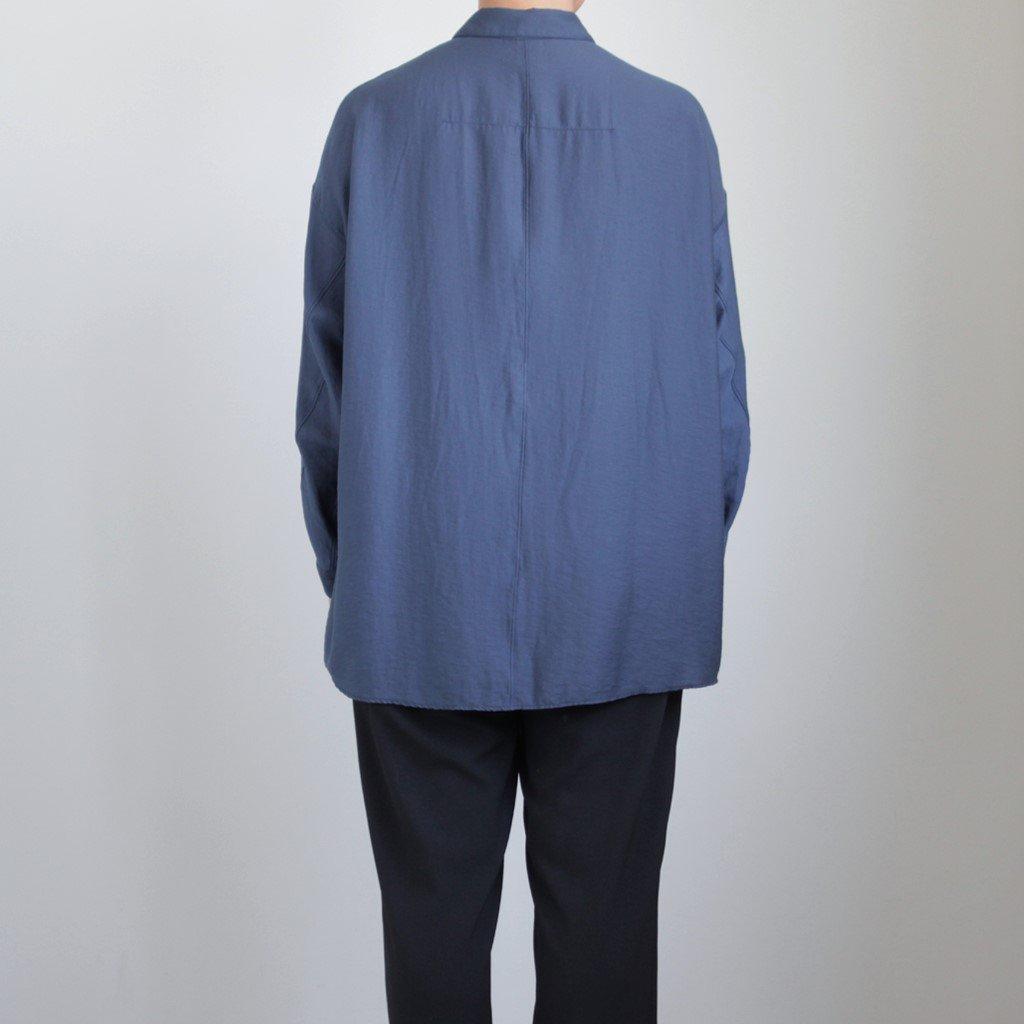 NOVSH|リヨセル&ナイロンカルゼ スモールカラーワイドシャツ #NAVY BLUE [A9-NC081SF]