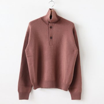 HARD TWIST MERINO KNIT BIG POLO #RED BROWN [A9AP01FT] _ AURALEE | オーラリー