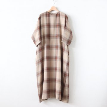 CHECK ROUND COLLAR DRESS #BROWN CH [GL193-60031] _ Graphpaper | グラフペーパー