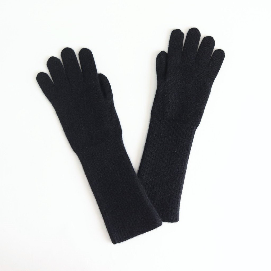 BABY CASHMERE KNIT LONG GLOVES #BLACK [A9AG07BC]