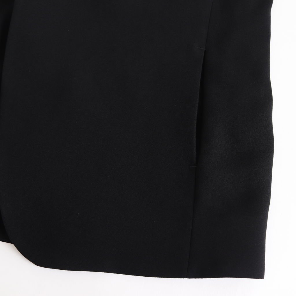 NNCJK|アセテート&ポリエステルライトクレープダブルクロス ノーカラージャケット #BLACK [NK-NC905JK]