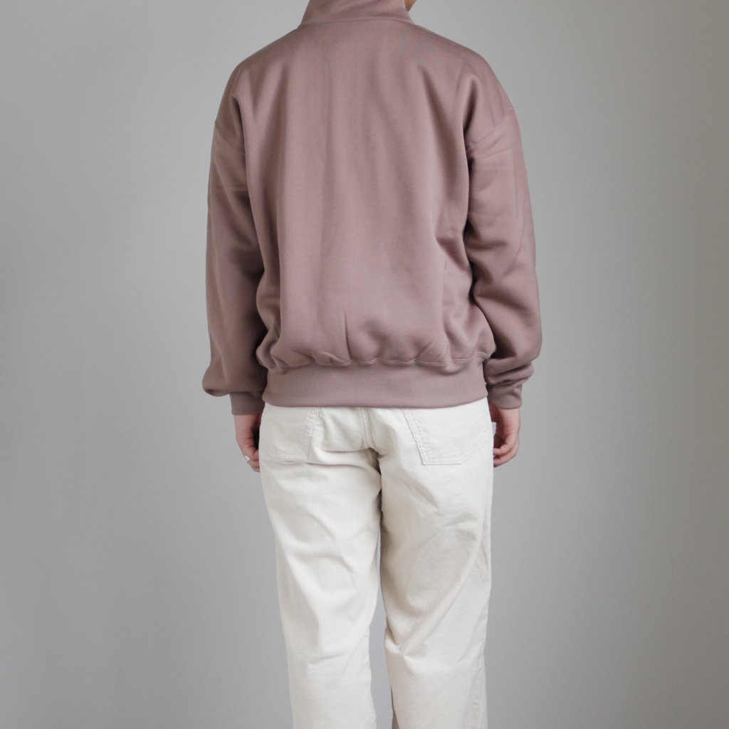 BAGGY POLYESTER SWEAT HALF ZIP P/O #BROWN [A9AP02PU]