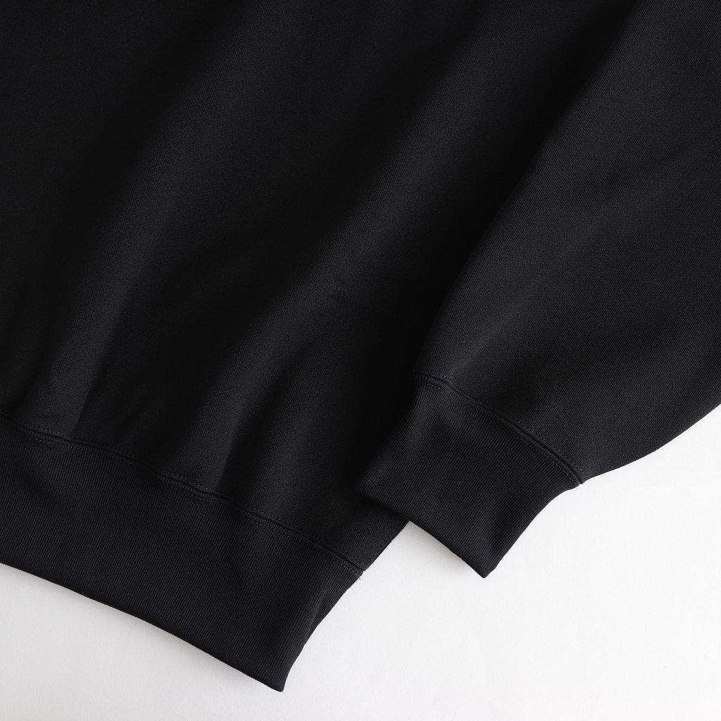 BAGGY POLYESTER SWEAT HALF ZIP P/O #BLACK [A9AP02PU]