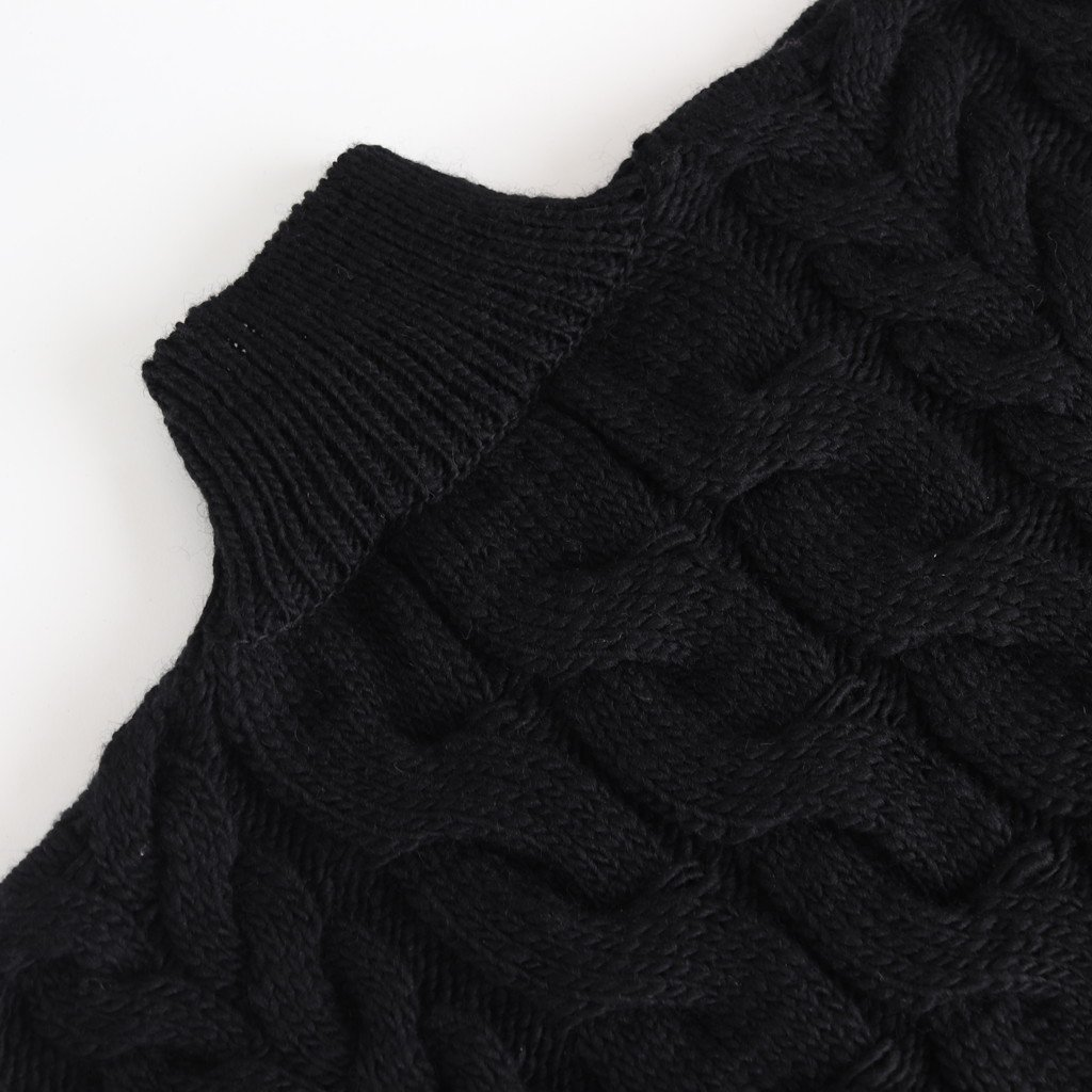 BIG CABLE SWEATER #BLACK [U1902-K002]