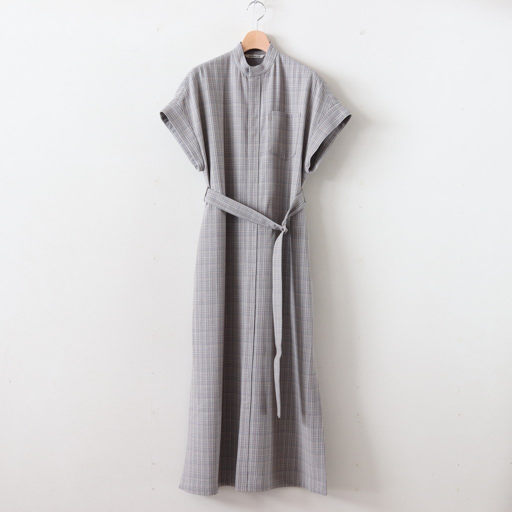 HARD TWIST WOOL DOUBLE FACE CHECK SLEEVELESS ONE-PIECE #GRAY CHECK [A20SD03WC]