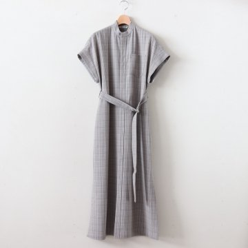 HARD TWIST WOOL DOUBLE FACE CHECK SLEEVELESS ONE-PIECE #GRAY CHECK [A20SD03WC] _ AURALEE | オーラリー