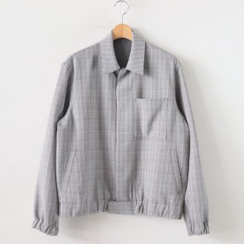 HARD TWIST WOOL DOUBLE FACE CHECK BLOUZON #GRAY CHECK [A20SB01WC] _ AURALEE | オーラリー