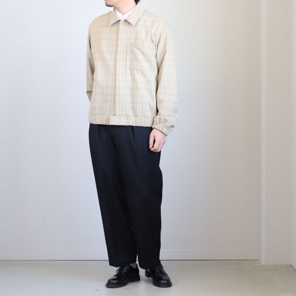 HARD TWIST WOOL DOUBLE FACE CHECK BLOUZON #BEIGE CHECK [A20SB01WC]