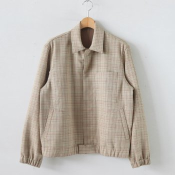 HARD TWIST WOOL DOUBLE FACE CHECK BLOUZON #BEIGE CHECK [A20SB01WC] _ AURALEE | オーラリー