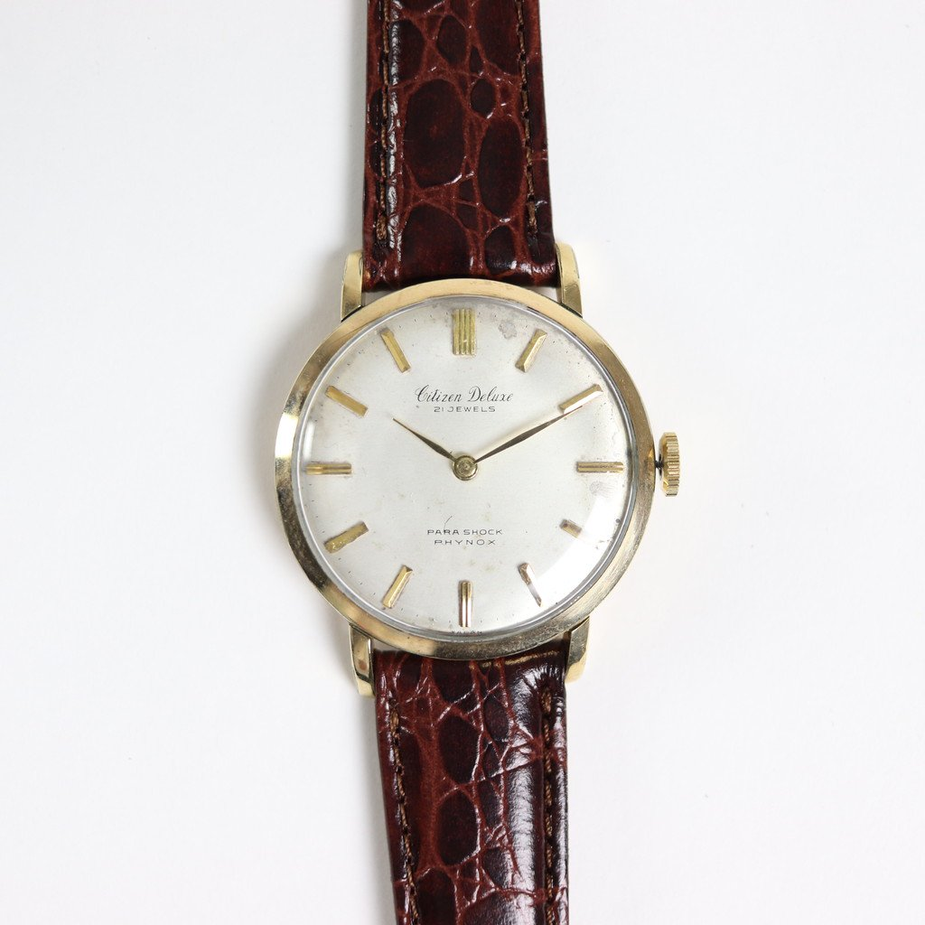 REMAKE WATCH #BROWN LEATHER BAND / WHITE DIAL & GOLD CASE [20A-remake-1]