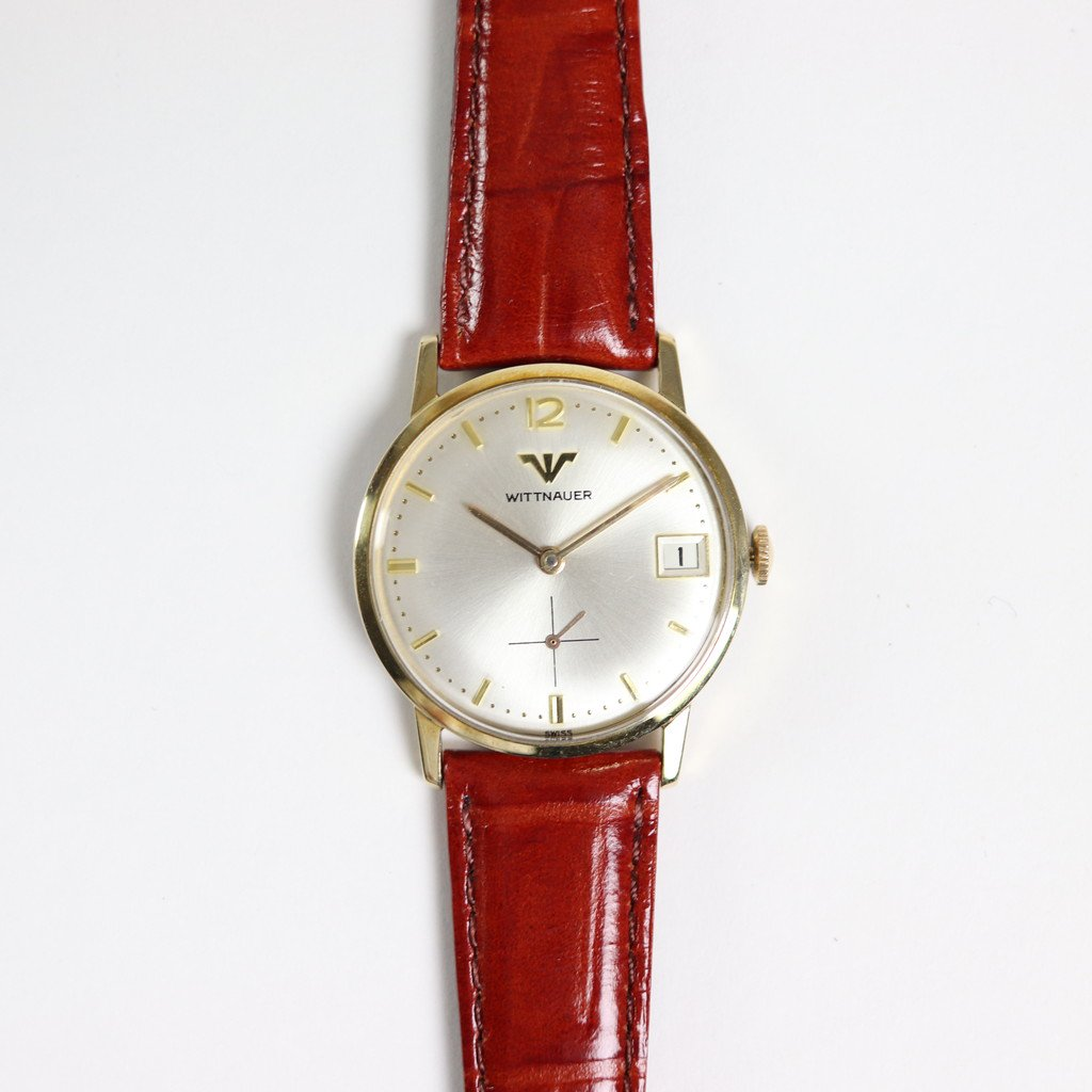 WITTNAUER - HAND WOUND WATCH #BROWN LEATHER STRAP / WHITE DIAL & GOLD CASE [T190289]