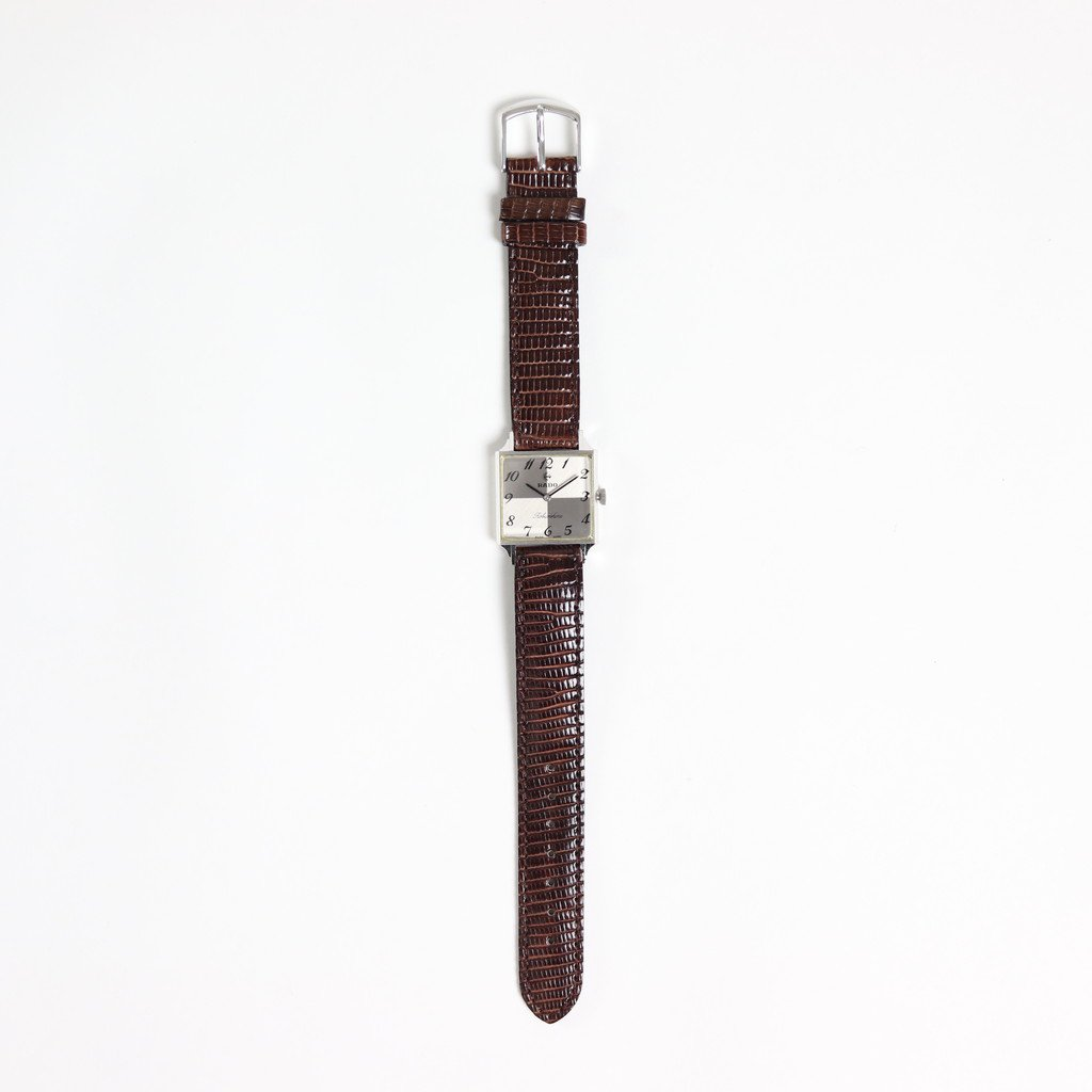 RADO - HAND WOUND WATCH #DARK BROWN LEATHER STRAP / SILVER DIAL & SILVER CASE [BR180005]