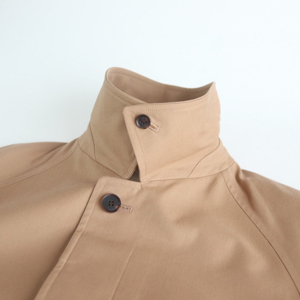 COTTON SILK GABARDINE LONG SOUTIEN COLLAR COAT #BEIGE CHAMBRAY [A20SC01MS]