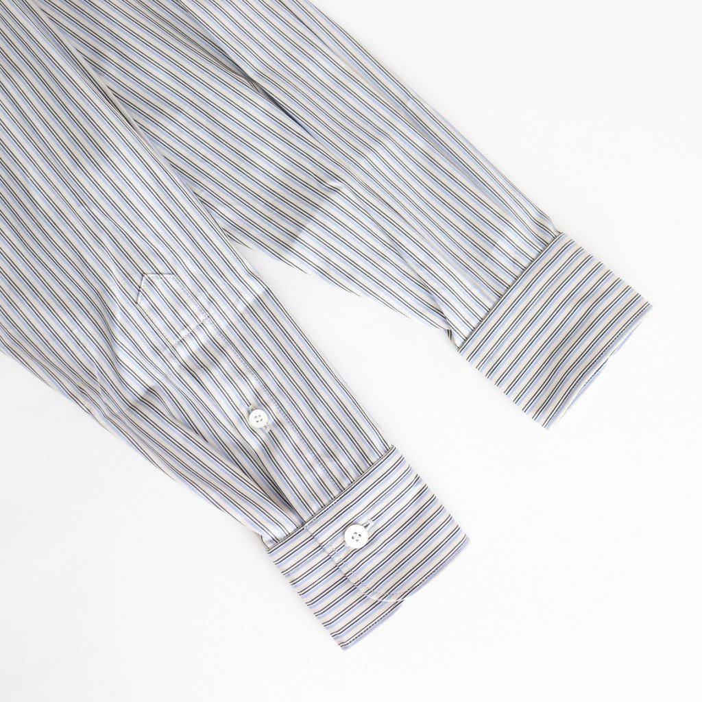 BAND COLLAR PULLOVER DRESS #BLUE STRIPE [L2001-DR001]