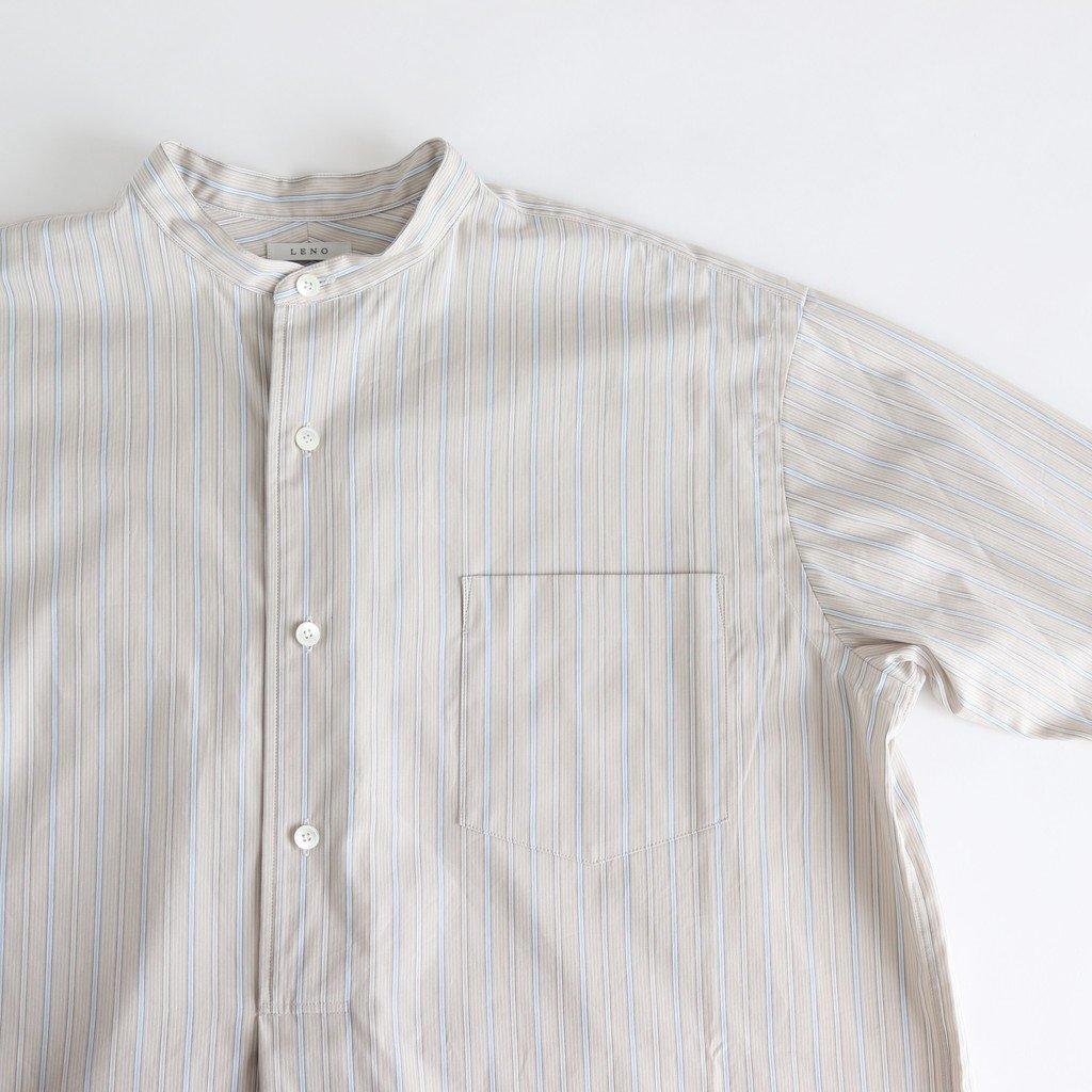 BAND COLLAR PULLOVER DRESS #BEIGE STRIPE [L2001-DR001]