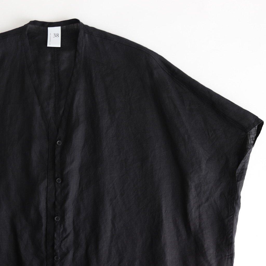 NFVSH|80/-平織リネン フレンチスリーブワイドシャツ #BLACK [S0-NC176S0]