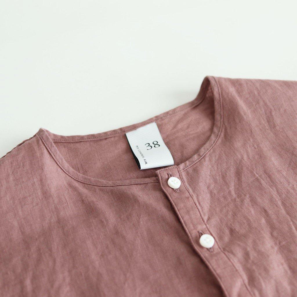 NONSH|80/-平織リネン ノーカラーワイドシャツ #SMOKE PINK [S0-NC175SF]