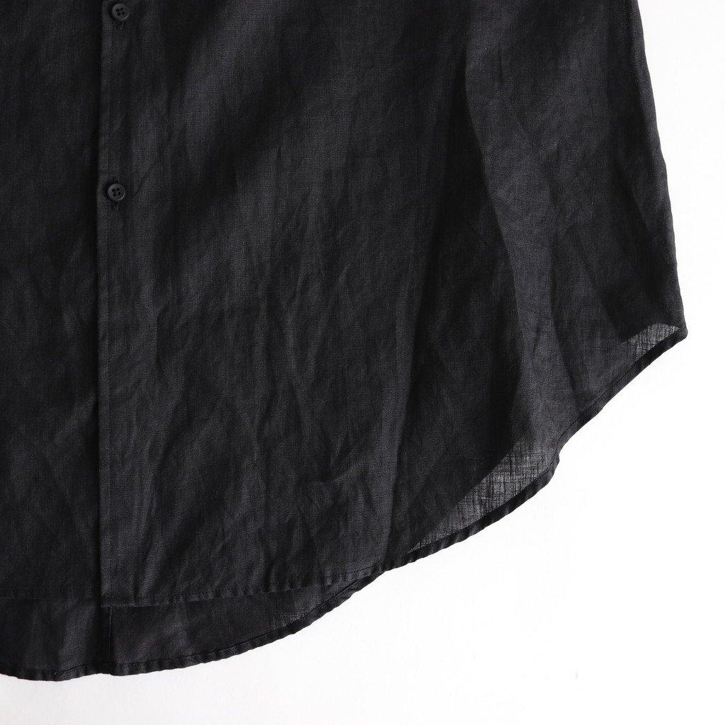 NRBSH|80/-平織リネン スモールカラーフレアシャツ #BLACK [S0-NC171SF]