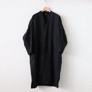 FGVCT|25/1リネンビエラ ノーカラーダブルブレストオーバーコート #BLACK DYED [S0-FR042CT] _ FIRMUM | フィルマム
