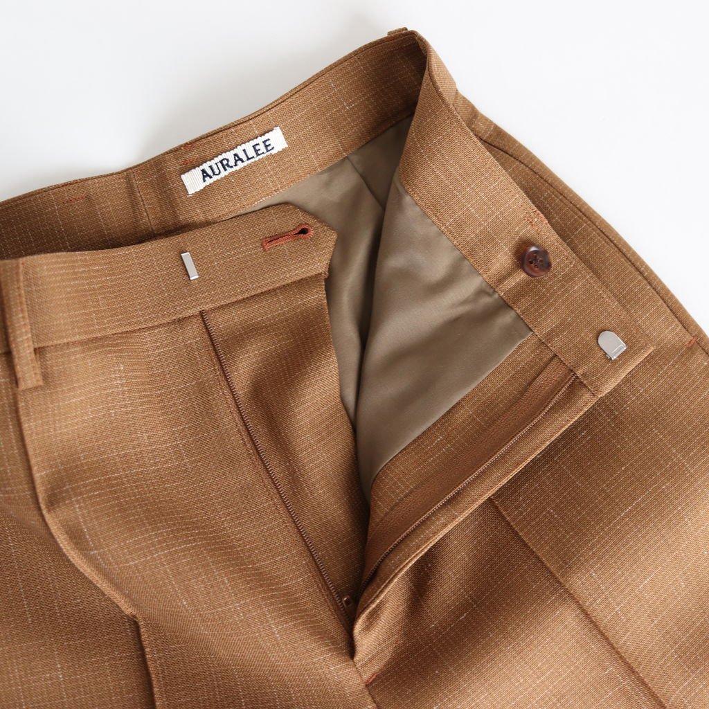 WOOL CUPRA LINEN CLOTH SLACKS #BROWN CHECK [A20SP05CL]