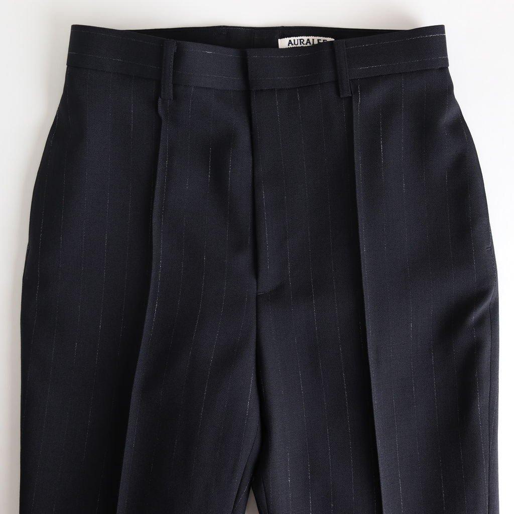 WOOL CUPRA LINEN CLOTH SLACKS #NAVY STRIPE [A20SP05CL]