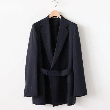 WOOL CUPRA LINEN CLOTH JACKET #NAVY STRIPE [A20SJ04CL] _ AURALEE | オーラリー
