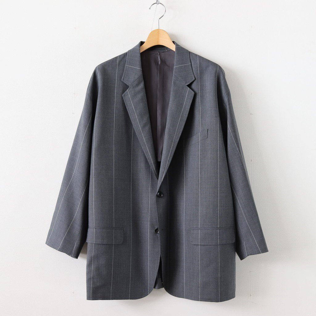 WIDE STRIPE WOOL OVERSIZED JACKET #GRAY [GM201-20005]